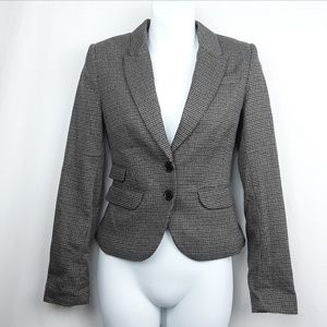 Houndstooth Fitted Blazer Dual Button Pocket